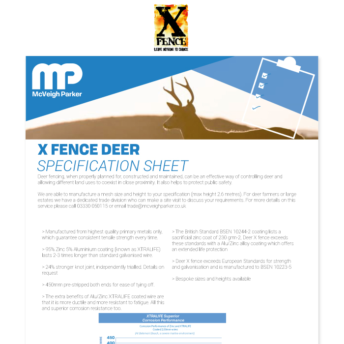 X fence Deer Specification Sheet