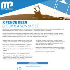 X fence Deer Specification Sheet