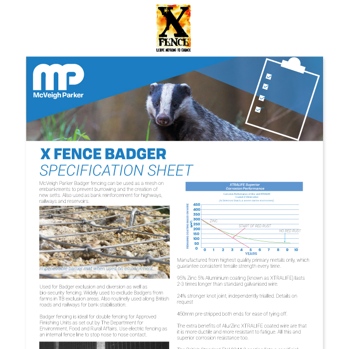 X fence Badger Specification Sheet