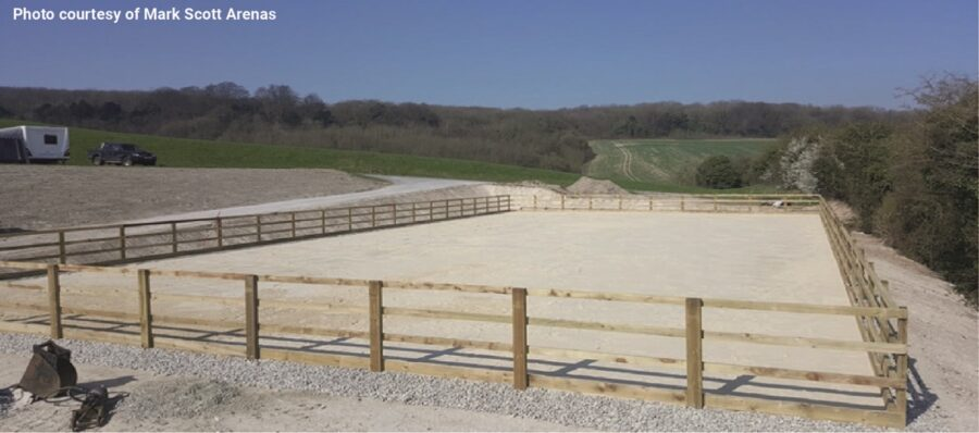 The stone drainage for horse arenas