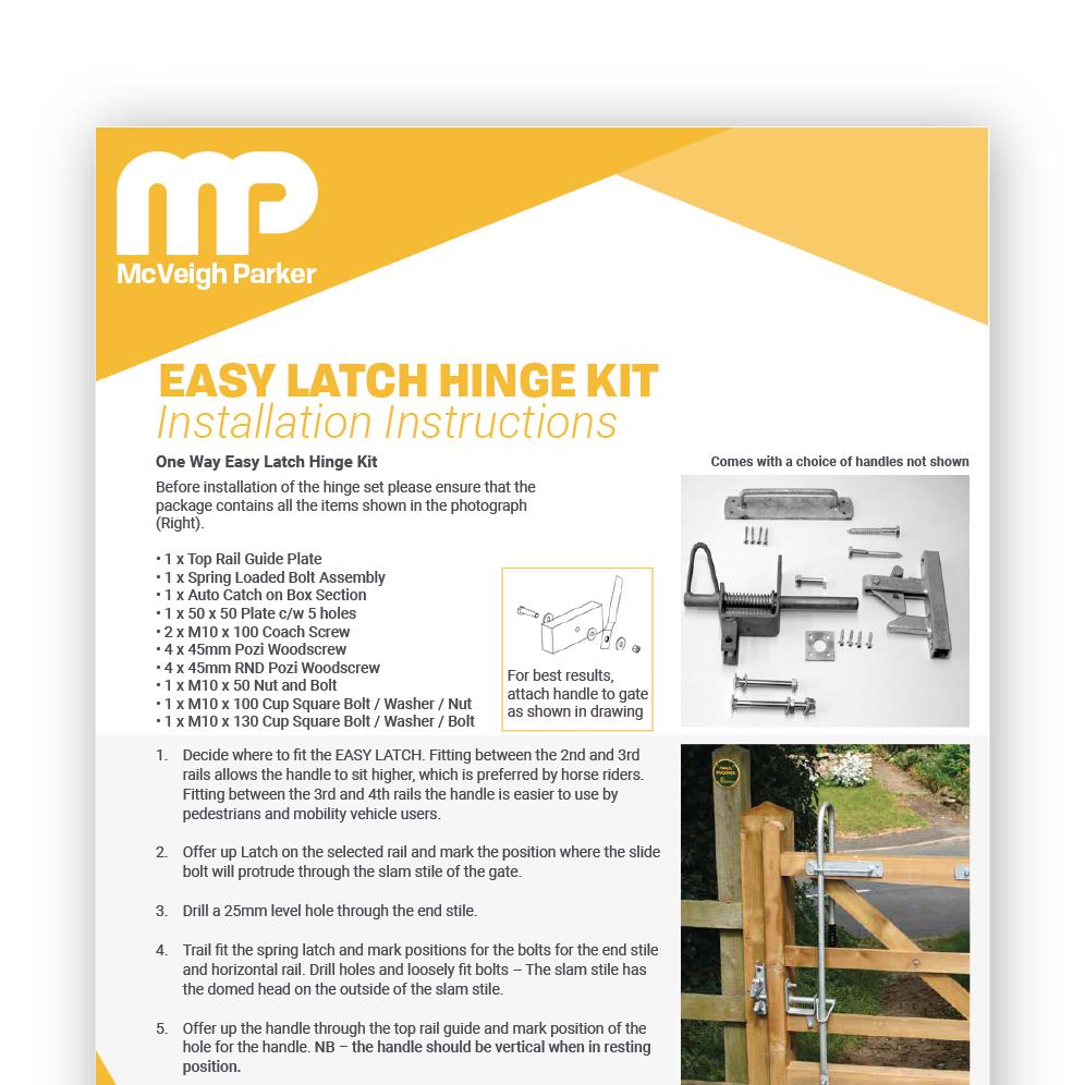 Easy Latch 1 Way Installation Instructions