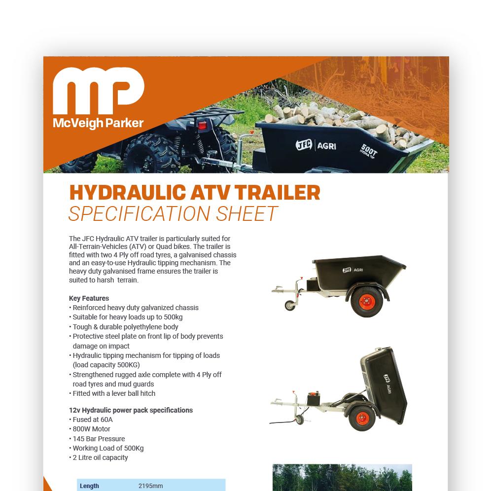 Hydraulic ATV Tipping Trailer