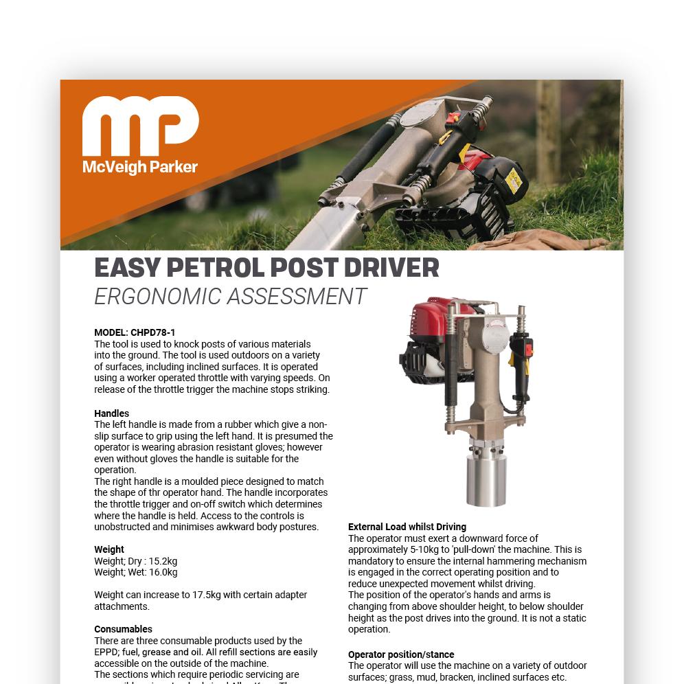Easy Petrol Post Driver Ergonomic Assessment